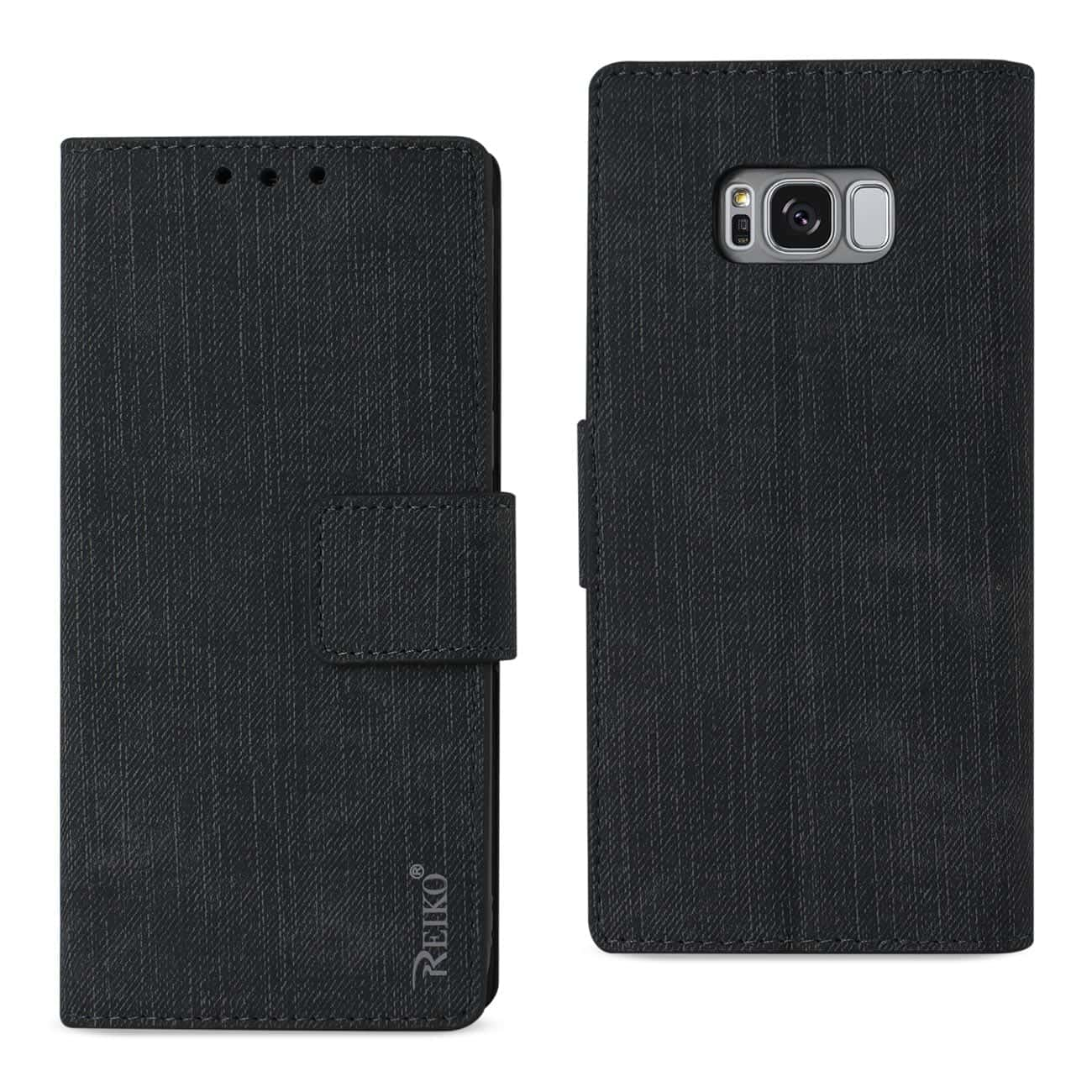 SAMSUNG S8 EDGE/ S8 PLUS DENIM WALLET CASE WITH GUMMY INNER SHELL AND KICKSTAND FUNCTION IN BLACK