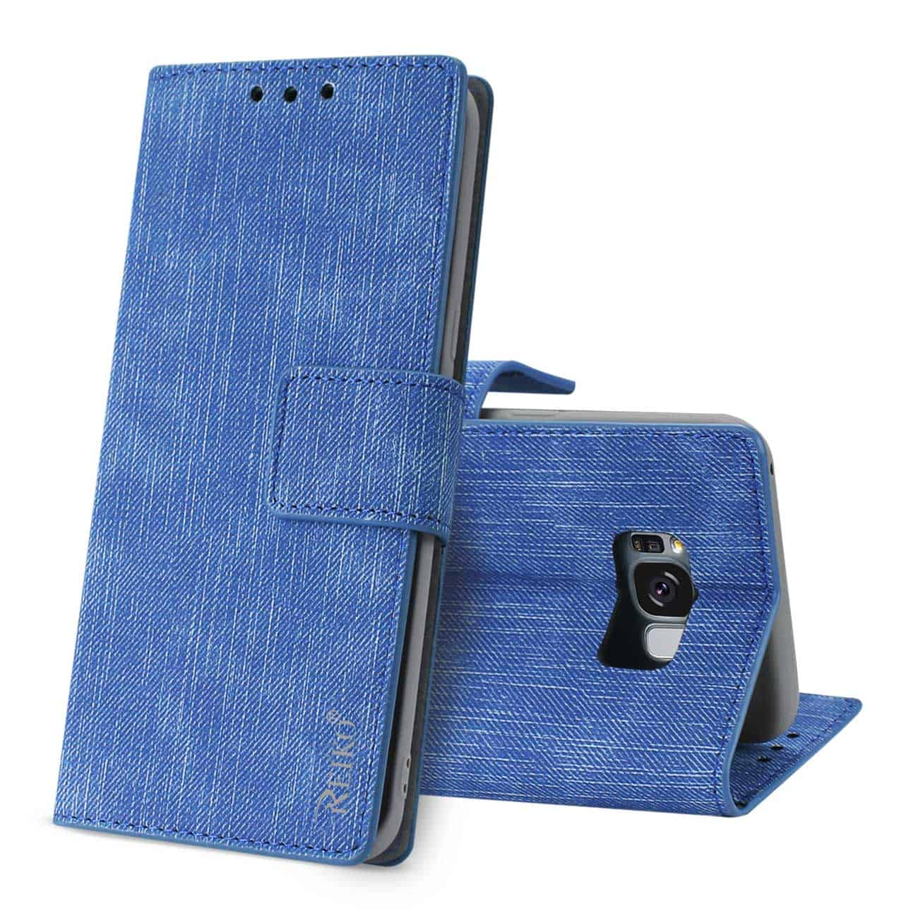 SAMSUNG S8 EDGE/ S8 PLUS DENIM WALLET CASE WITH GUMMY INNER SHELL AND KICKSTAND FUNCTION IN NAVY