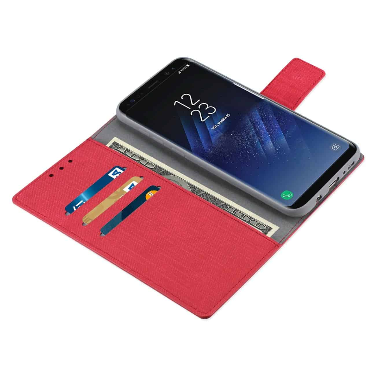 SAMSUNG S8 EDGE/ S8 PLUS DENIM WALLET CASE WITH GUMMY INNER SHELL AND KICKSTAND FUNCTION IN RED
