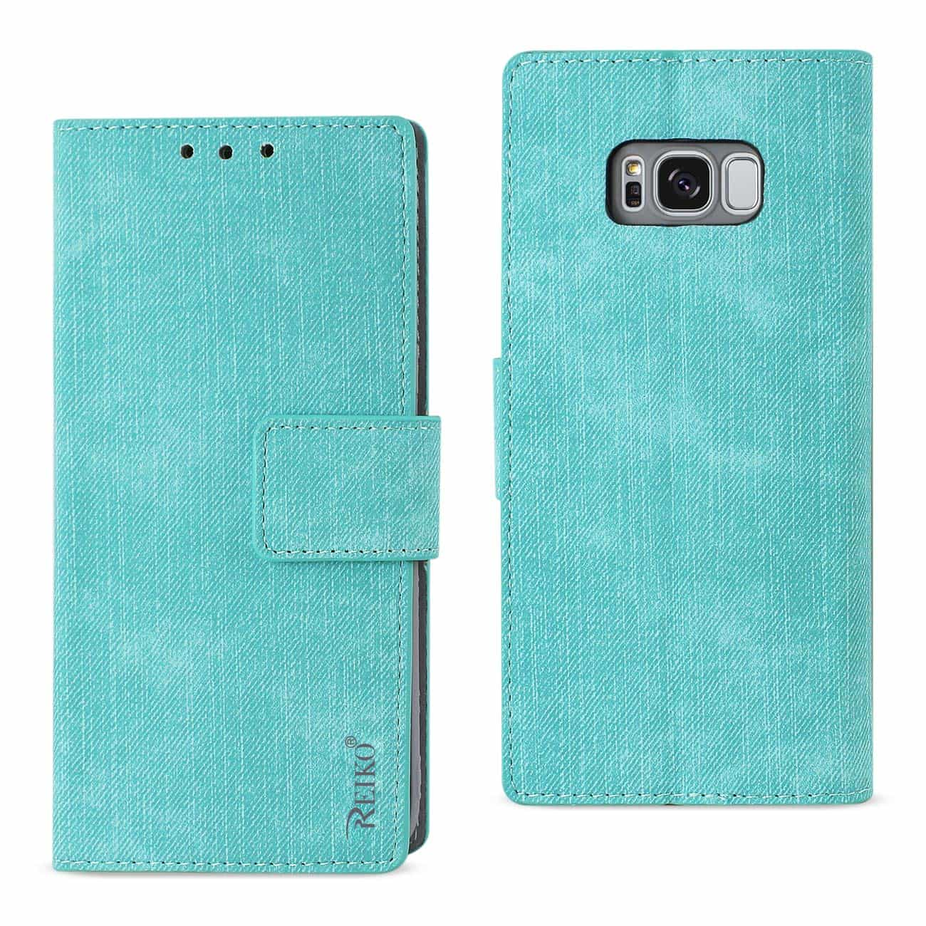 SAMSUNG GALAXY S8/ SM DENIM WALLET CASE WITH GUMMY INNER SHELL AND KICKSTAND FUNCTION IN BLUE