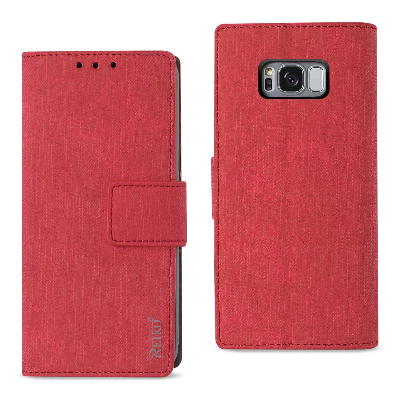 SAMSUNG GALAXY S8/ SM DENIM WALLET CASE WITH GUMMY INNER SHELL AND KICKSTAND FUNCTION IN RED