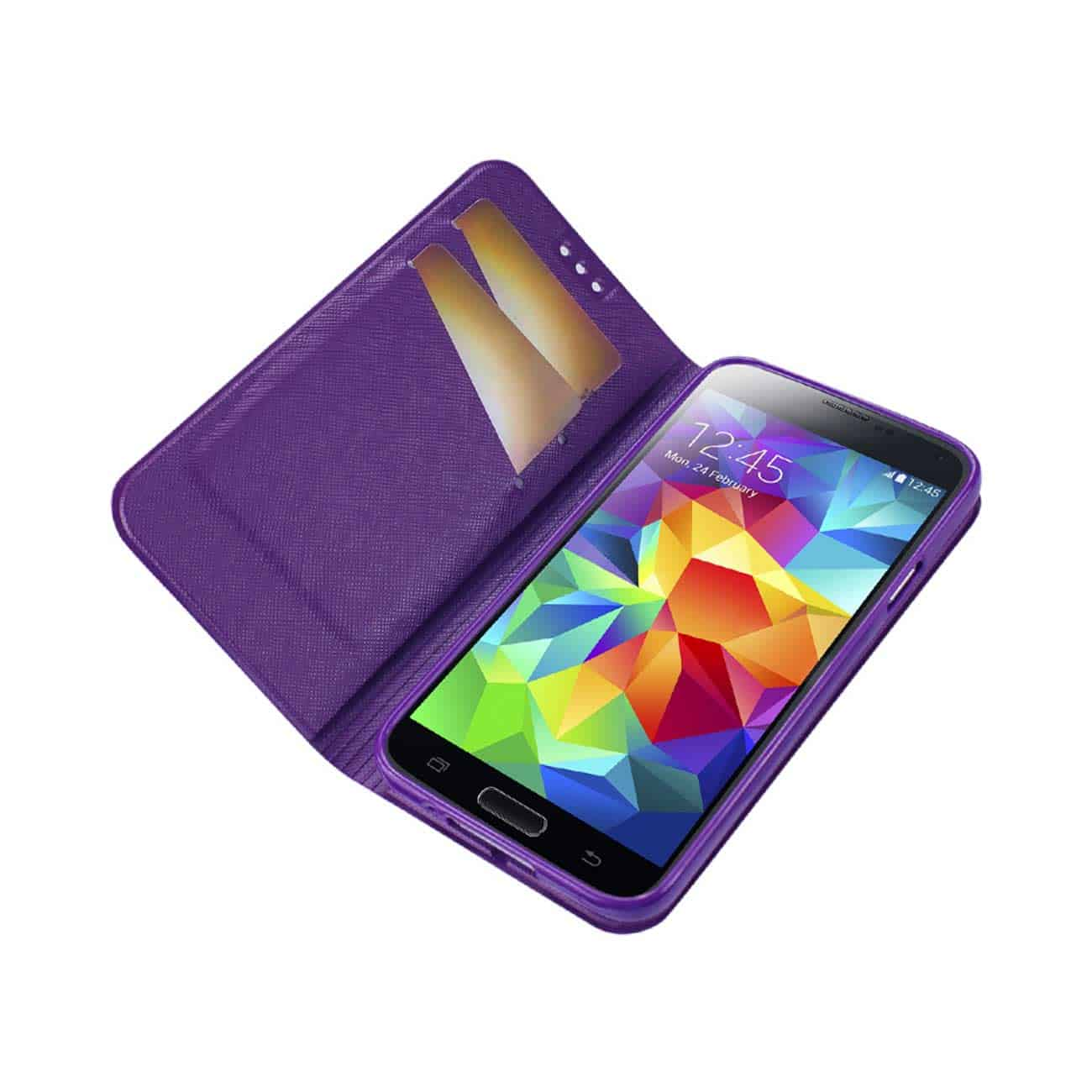 SAMSUNG GALAXY S5 FLIP FOLIO BOW WALLET CASE IN PURPLE WHITE