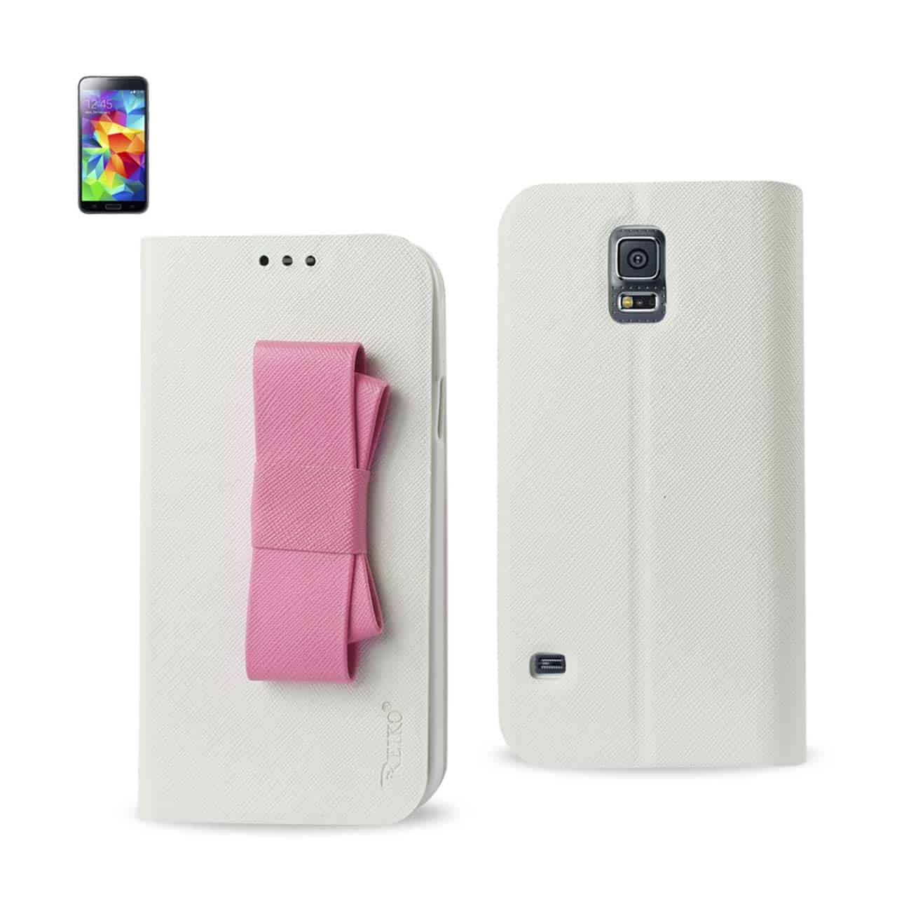 SAMSUNG GALAXY S5 FLIP FOLIO BOW WALLET CASE IN WHITE PINK
