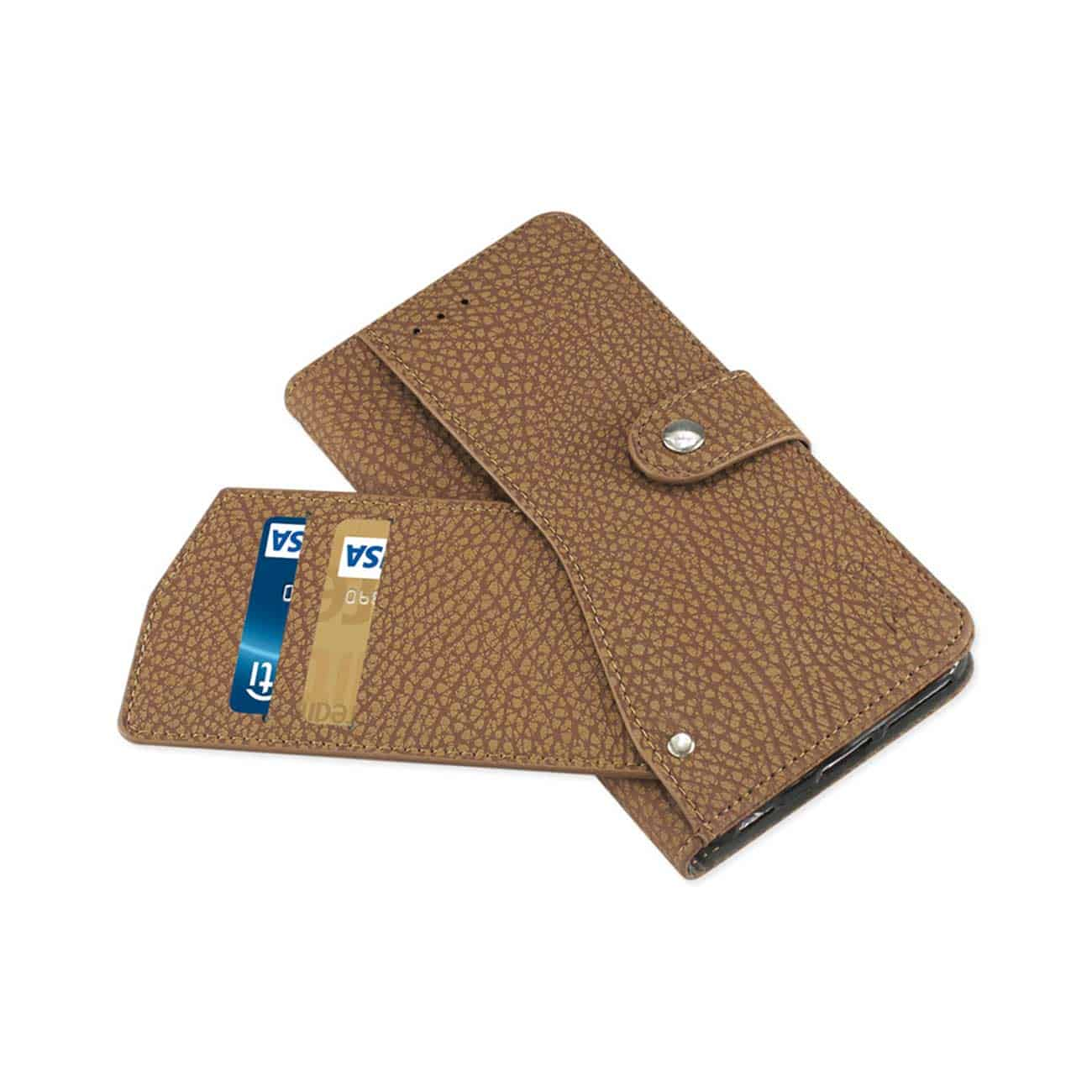 IPHONE 6 PLUS/ 6S PLUS WALLET CASE WITH SLIDE OUT POCKET AND FOLD STAND IN BROWN
