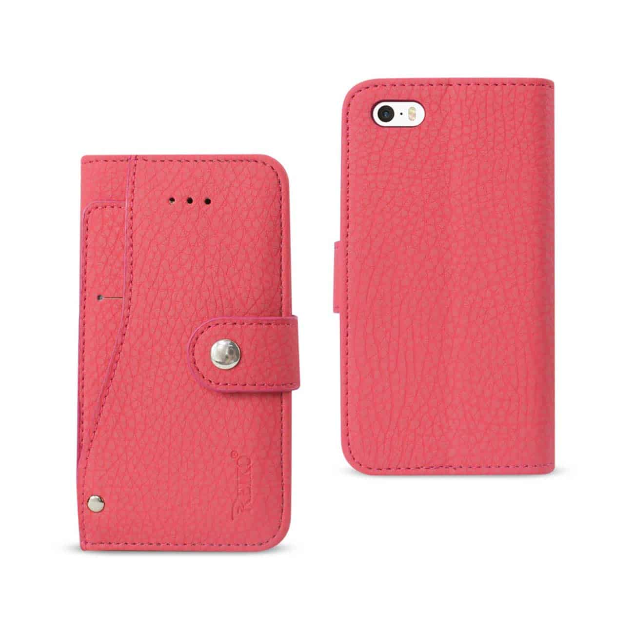 IPHONE SE WALLET CASE WITH SLIDE OUT POCKET AND FOLD STAND IN HOT PINK