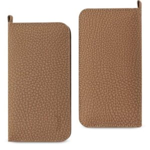 UNIVERSAL WALLET PHONE CASE WITH SIDE POCKETS AND MAGNETIC FLAP FOR SAMSUNG NOTE 5 (6.180X3.15X0.45 INCHES) IN BROWN
