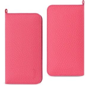 UNIVERSAL WALLET PHONE CASE WITH SIDE POCKETS AND MAGNETIC FLAP FOR IPHONE 7 PLUS (6.37X3.21X0.43 INCHES) IN HOT PINK