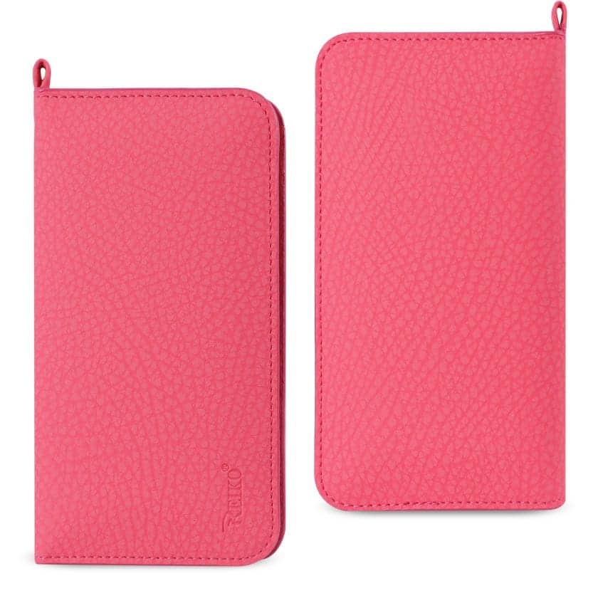 UNIVERSAL WALLET PHONE CASE WITH SIDE POCKETS AND MAGNETIC FLAP FOR SAMSUNG NOTE 5 (6.180X3.15X0.45 INCHES) IN HOT PINK