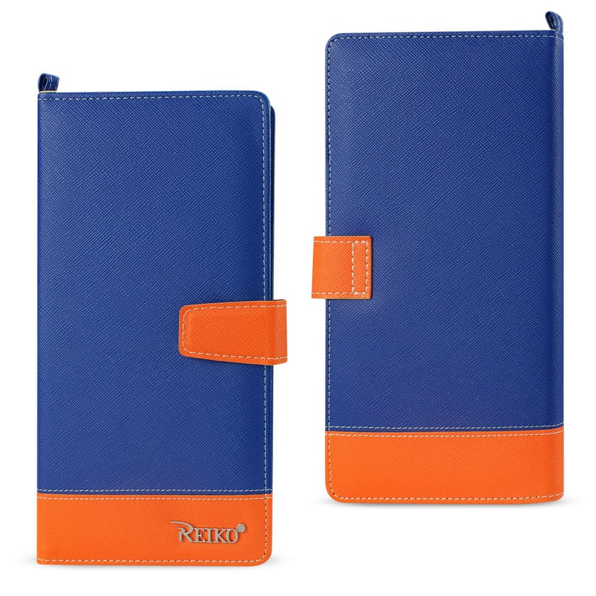 IPHONE 6/ 6S TWO TONE SUPER WALLET CASE WITH MULTIPLE CARD SLOTS IN ORANGE NAVY