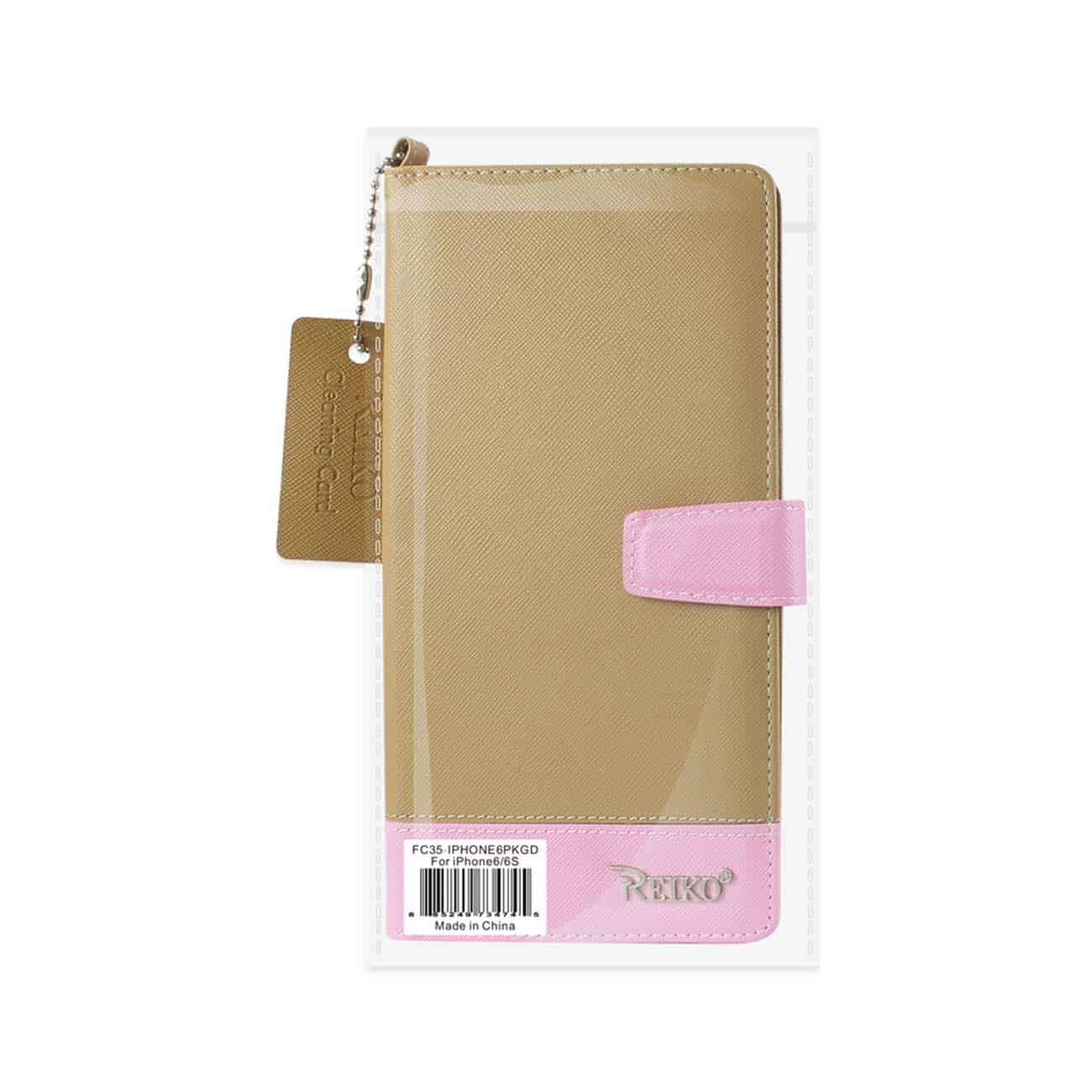 IPHONE 6/ 6S TWO TONE SUPER WALLET CASE WITH MULTIPLE CARD SLOTS IN PINK GOLD