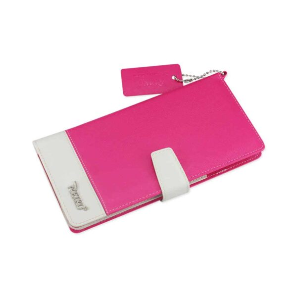 IPHONE 6/ 6S TWO TONE SUPER WALLET CASE WITH MULTIPLE CARD SLOTS IN WHITE HOT PINK