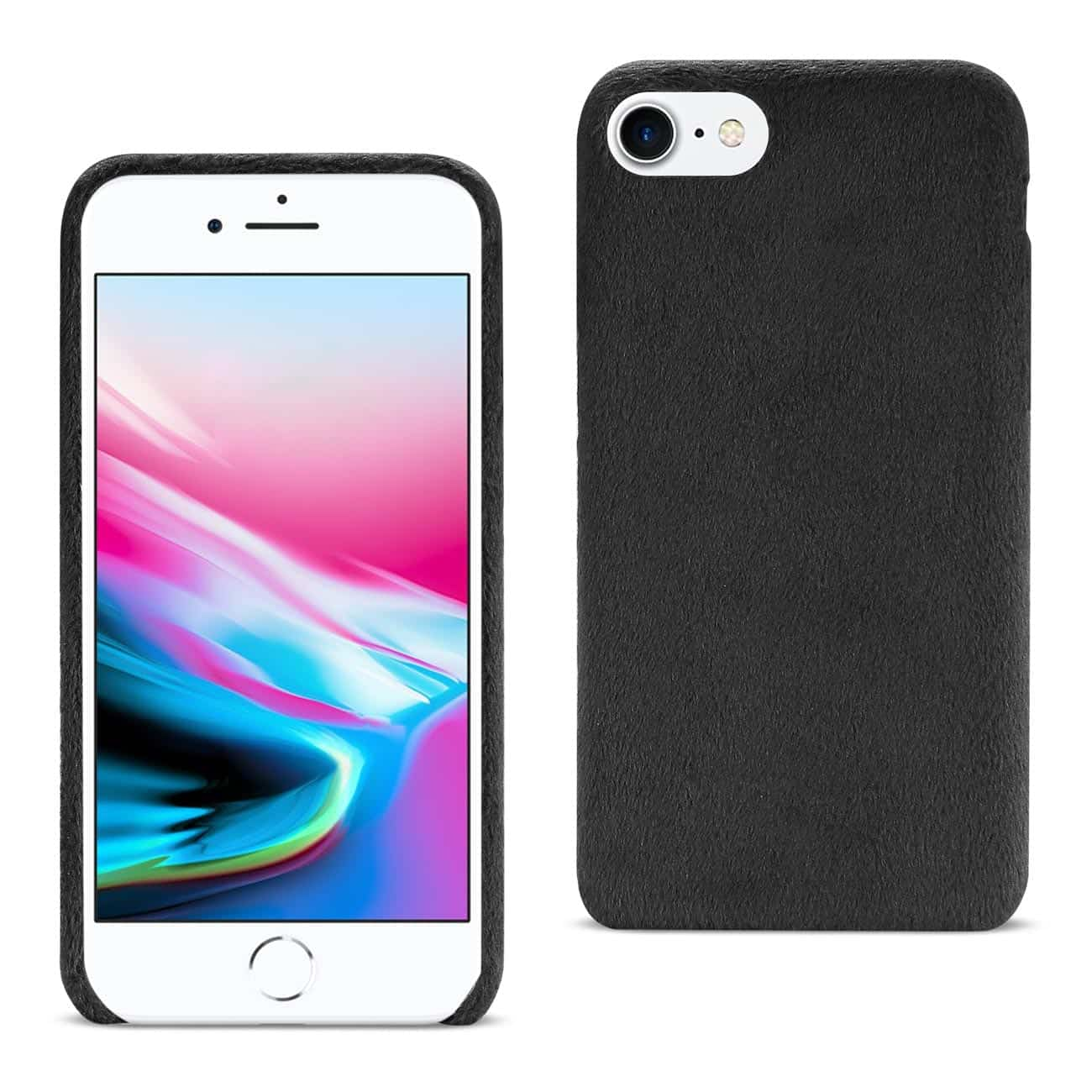 iPhone 8/ 7 Fuzzy Fur Soft TPU Case In Black