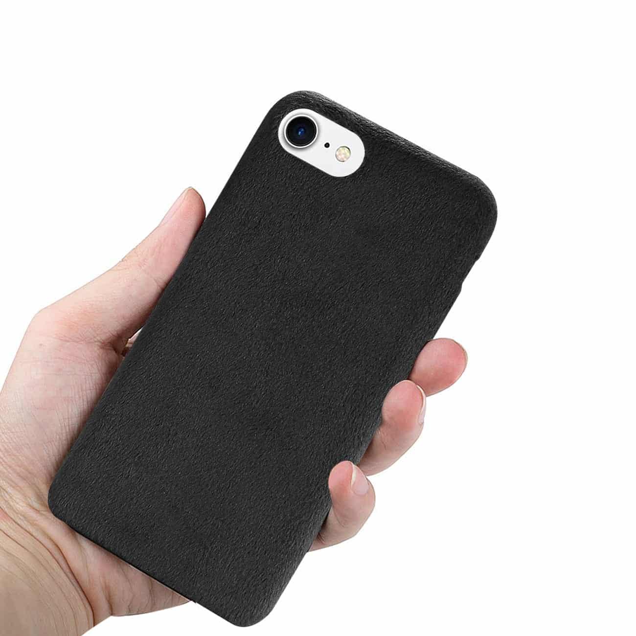 iPhone 8/ 7 Fuzzy Fur Soft TPU Case In Black