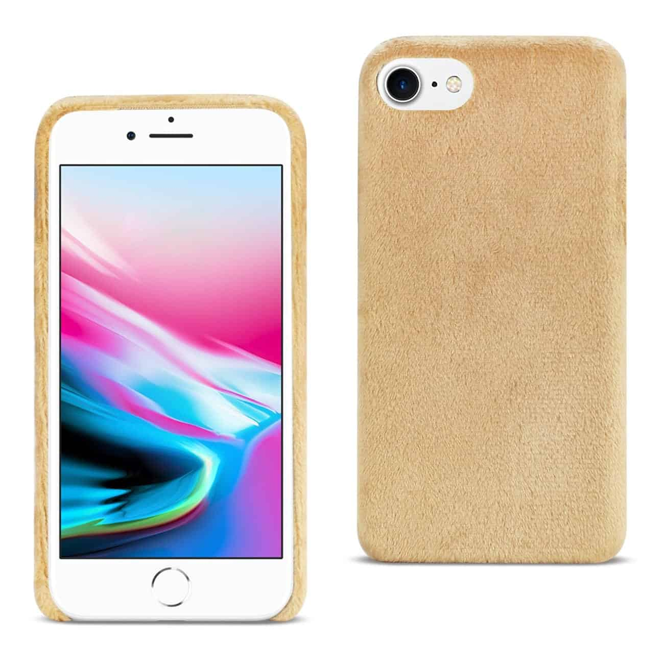 iPhone 8/ 7 Fuzzy Fur Soft TPU Case In Camel