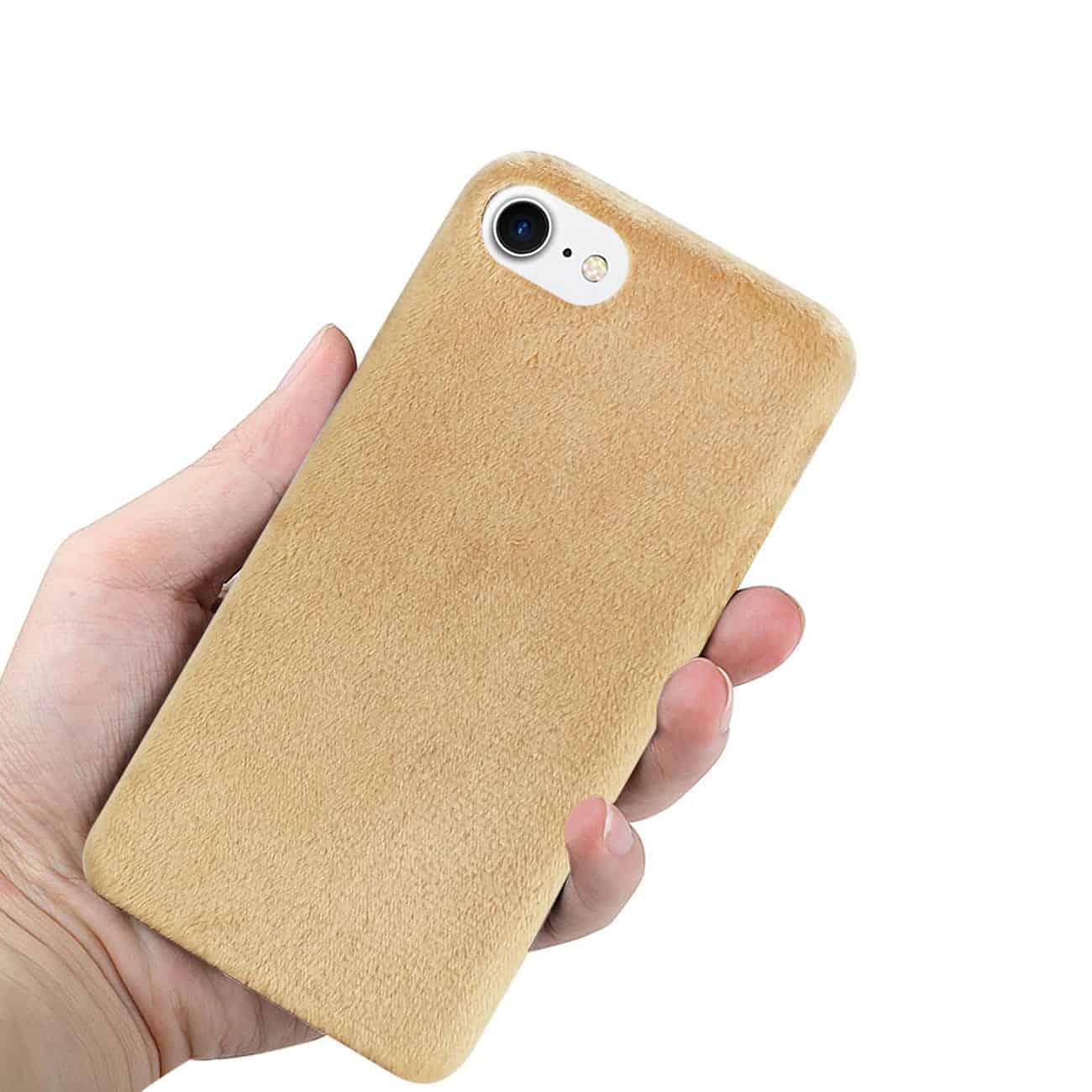 iPhone 8/ 7 Fuzzy Fur Soft TPU Case In Camel