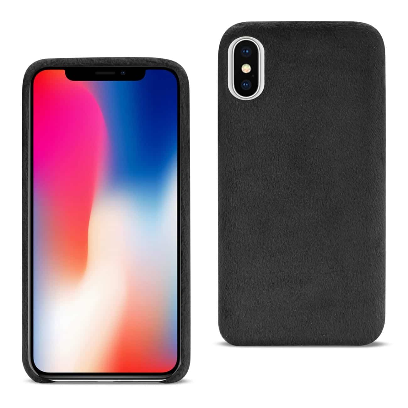 iPhone X Fuzzy Fur Soft TPU Case In Black