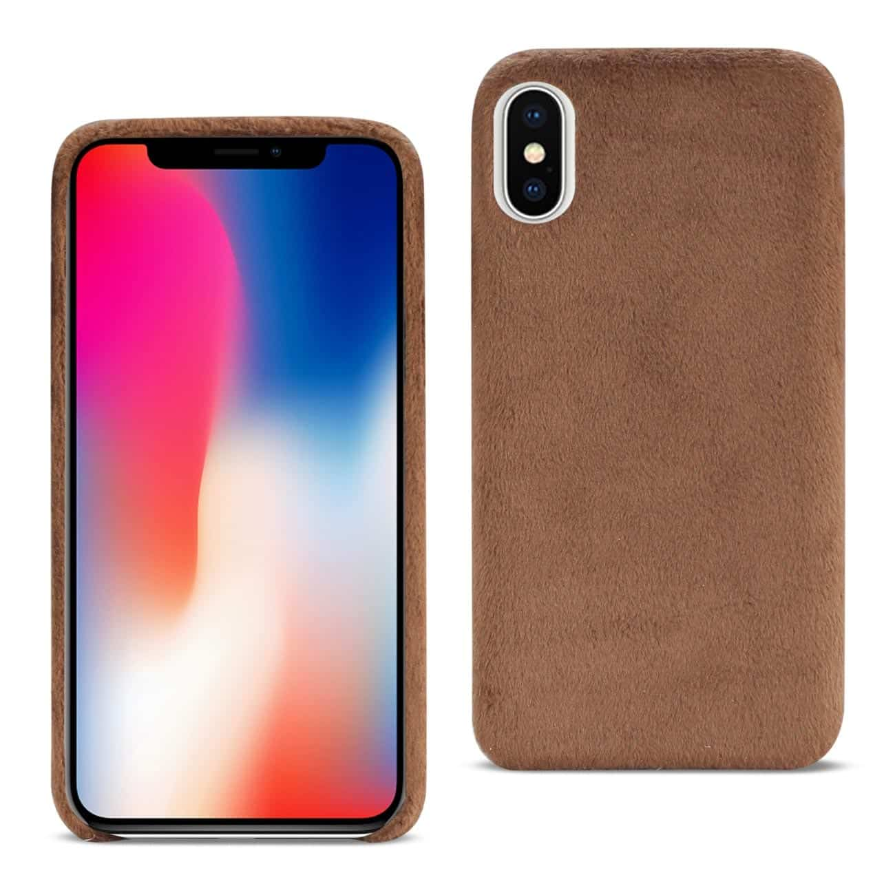 iPhone X Fuzzy Fur Soft TPU Case In Brown