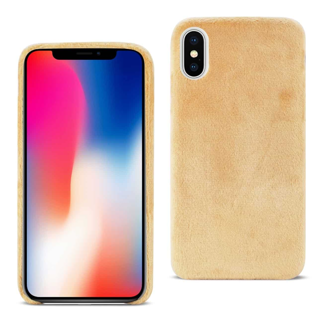 iPhone X Fuzzy Fur Soft TPU Case In Camel