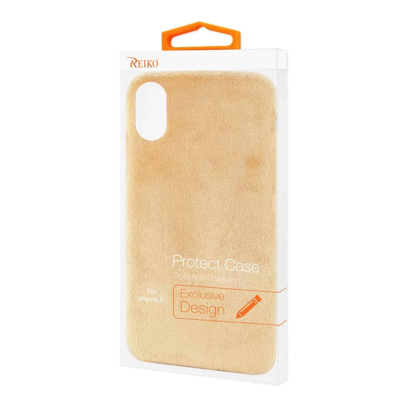 iPhone X Fuzzy Fur Soft TPU Case In Camel