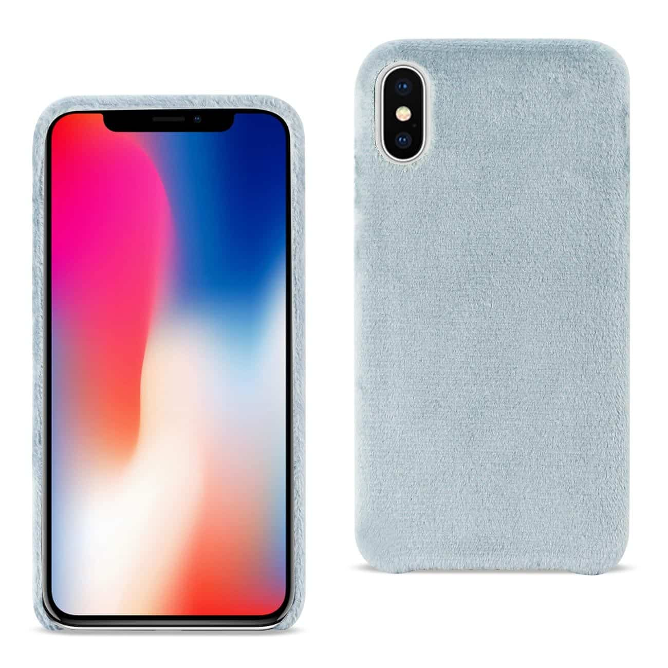 iPhone X Fuzzy Fur Soft TPU Case In Gray