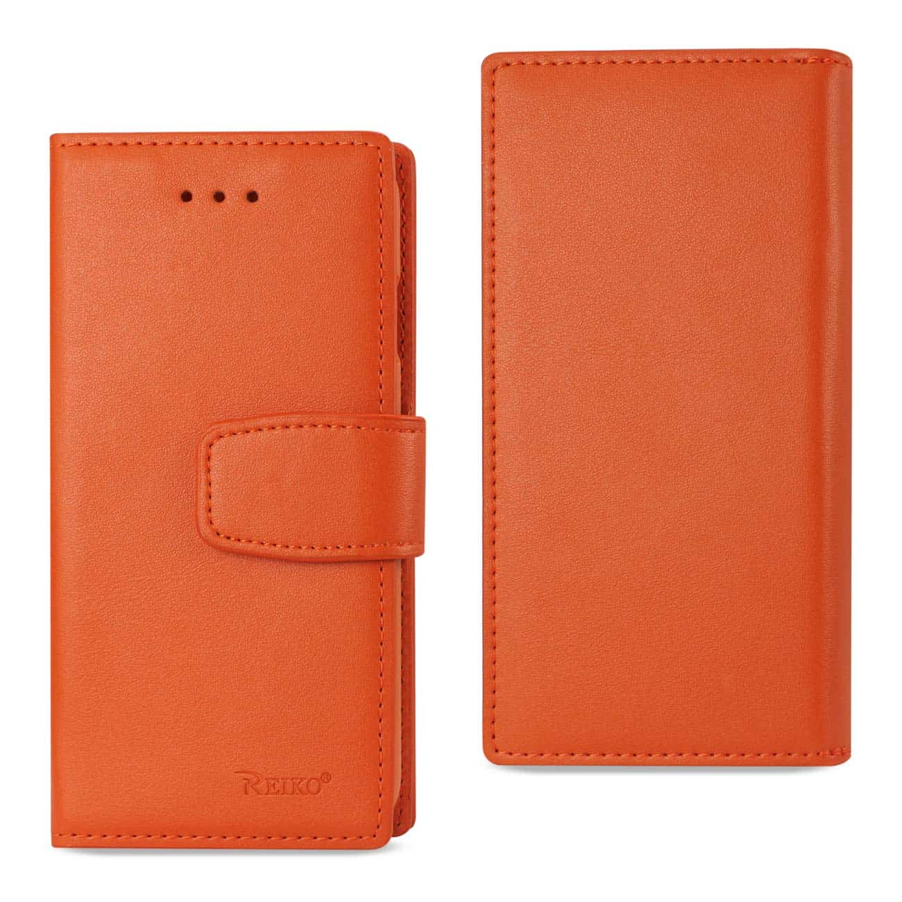 IPHONE 7 GENUINE LEATHER WALLET CASE WITH RFID CARD PROTECTION IN TANGERINE