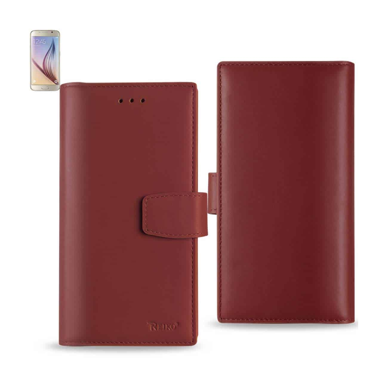 SAMSUNG GALAXY S6 GENUINE LEATHER RFID WALLET CASE IN BURGUNDY