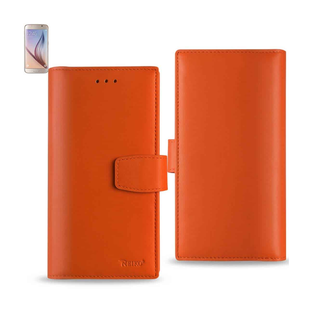 SAMSUNG GALAXY S6 GENUINE LEATHER RFID WALLET CASE IN TANGERINE