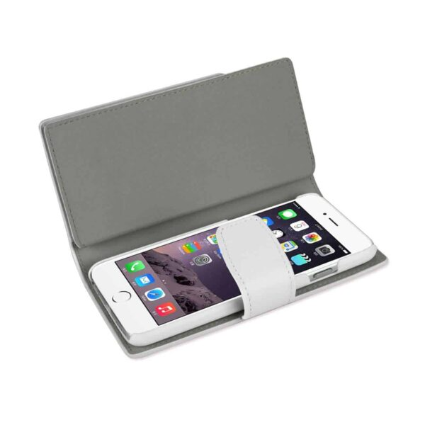 IPHONE 6 PLUS GENUINE LEATHER WALLET CASE WITH OPEN THUMB CUT IN IVORY