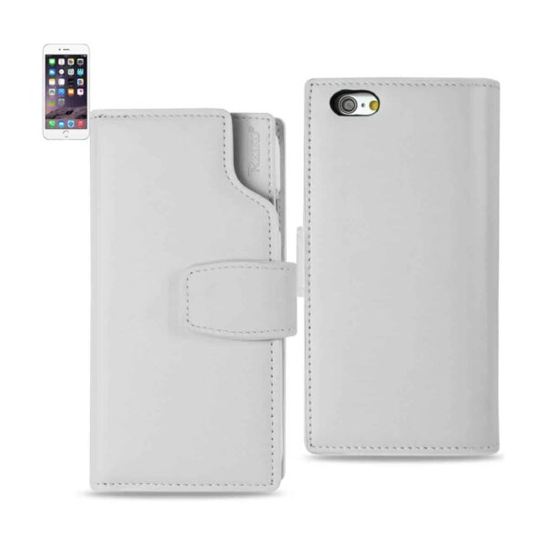 IPHONE 6 GENUINE LEATHER WALLET CASE WITH OPEN THUMB CUT IN IVORY