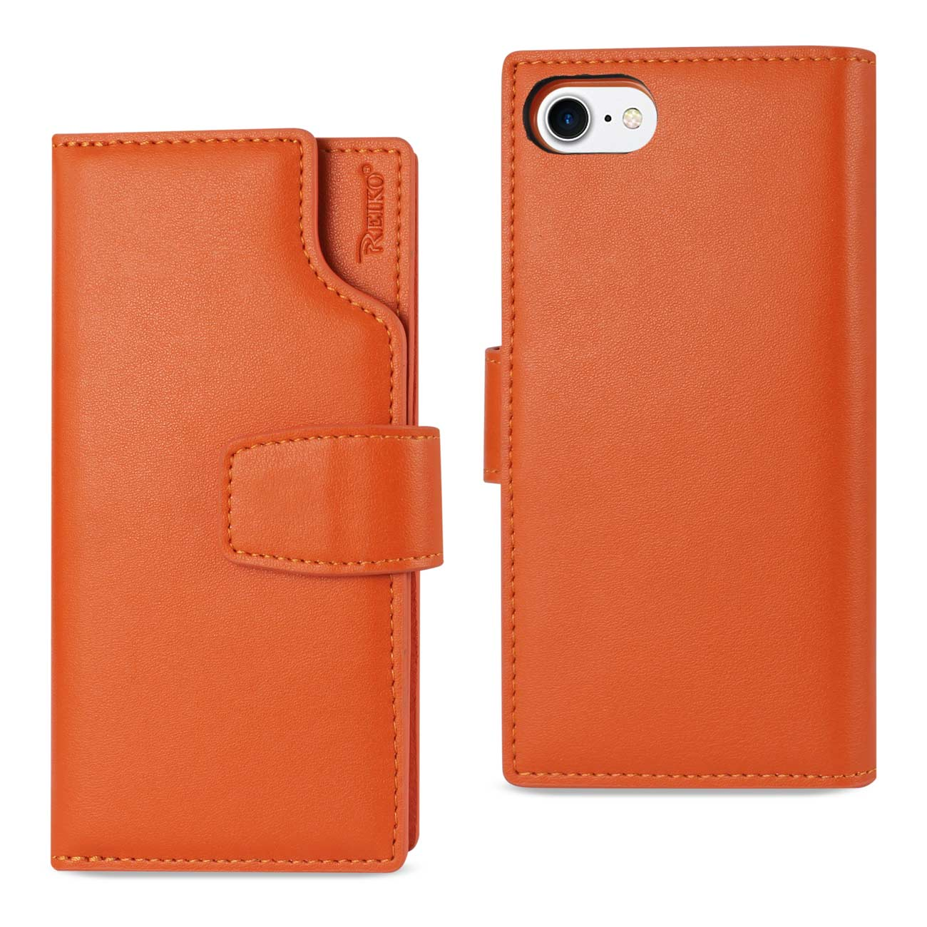 IPHONE 7 GENUINE LEATHER WALLET CASE WITH OPEN THUMB CUT IN TANGERINE