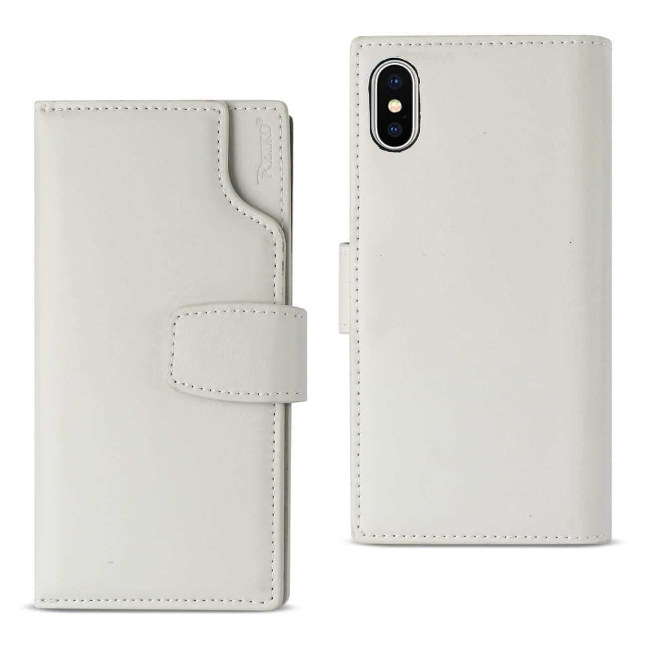iPhone X Genuine Leather Wallet Case With Open Thumb Cut In Ivory