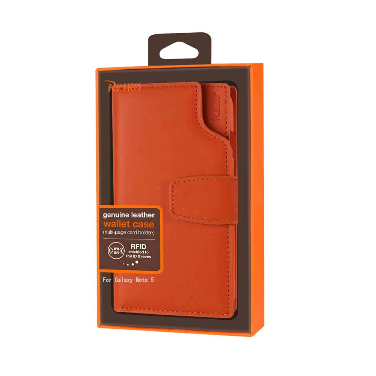 SAMSUNG GALAXY NOTE 5 GENUINE LEATHER WALLET CASE WITH OPEN THUMB CUT IN TANGERINE
