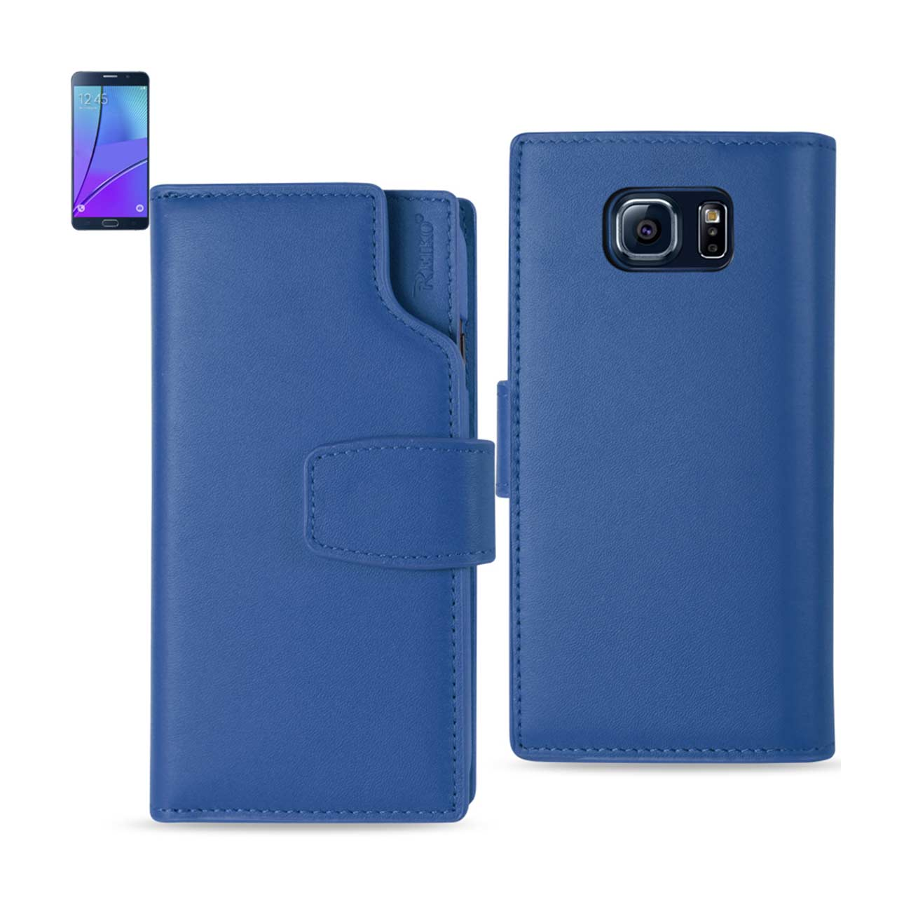 SAMSUNG GALAXY NOTE 5 GENUINE LEATHER WALLET CASE WITH OPEN THUMB CUT IN ULTRAMARINE