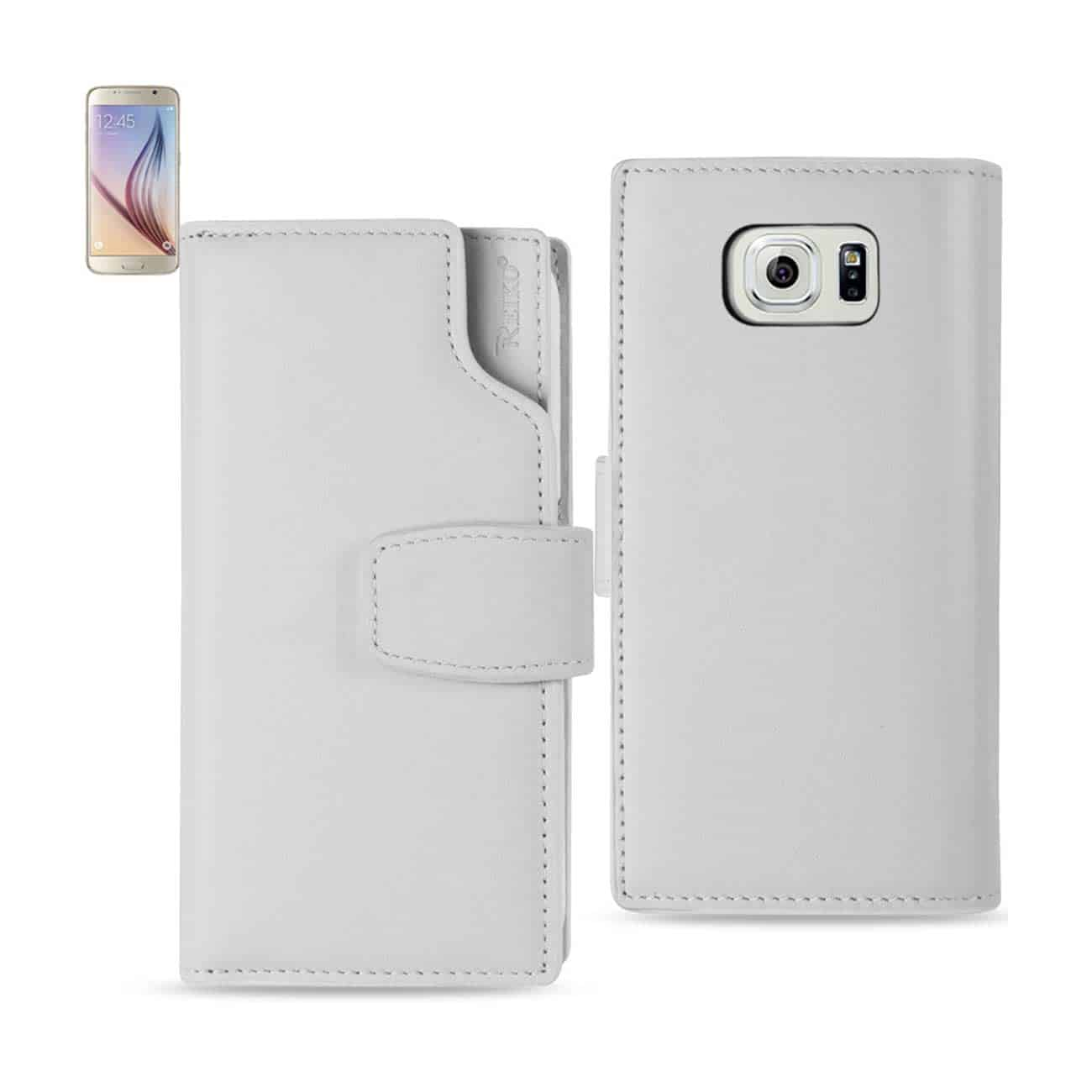 SAMSUNG GALAXY S6 GENUINE LEATHER WALLET CASE WITH OPEN THUMB CUT IN IVORY