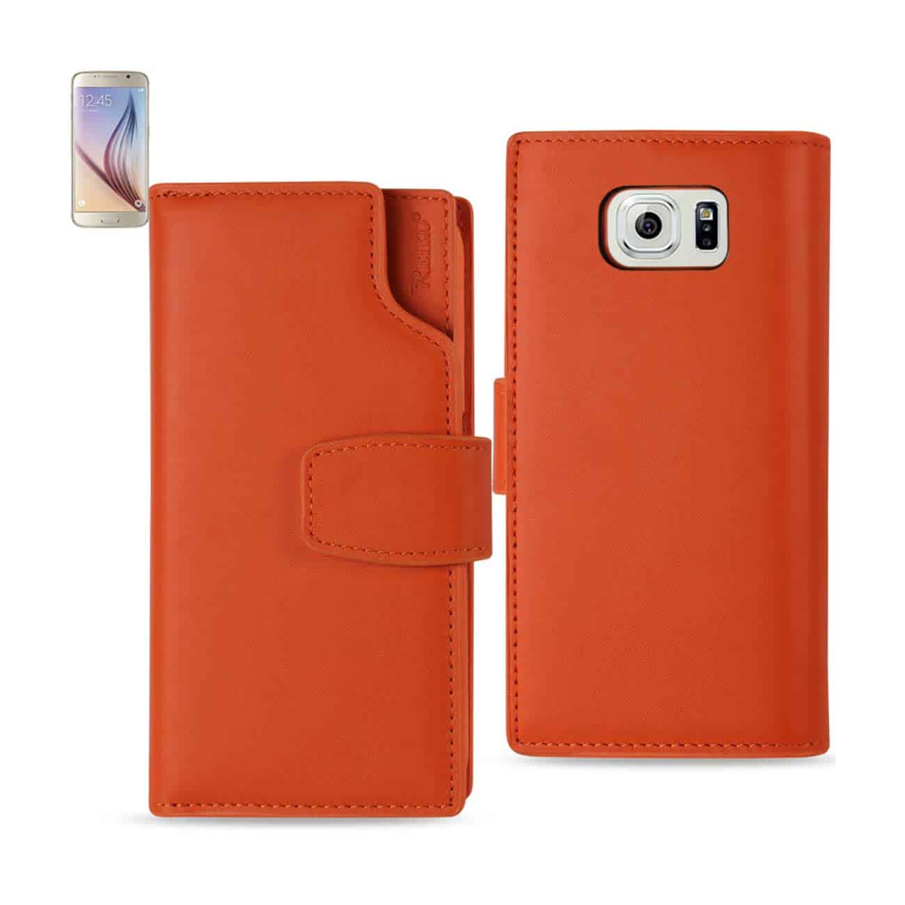 SAMSUNG GALAXY S6 GENUINE LEATHER WALLET CASE WITH OPEN THUMB CUT IN TANGERINE