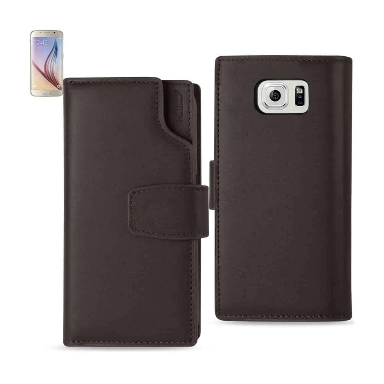 SAMSUNG GALAXY S6 GENUINE LEATHER WALLET CASE WITH OPEN THUMB CUT IN UMBER