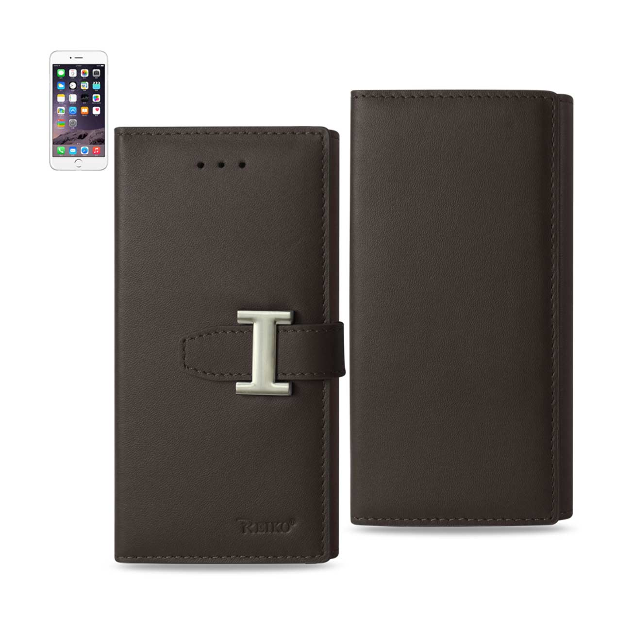 IPHONE 6 PLUS GENUINE LEATHER RFID WALLET CASE IN UMBER