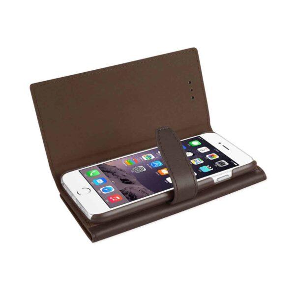IPHONE 6 PLUS GENUINE LEATHER RFID WALLET CASE IN UMBER