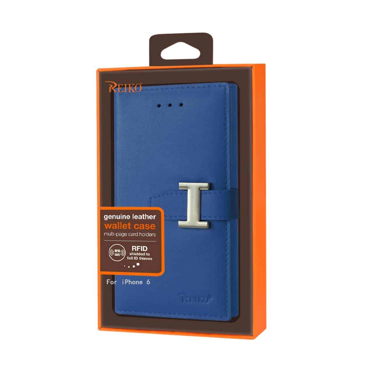 IPHONE 6 GENUINE LEATHER RFID WALLET CASE IN ULTRAMARINE