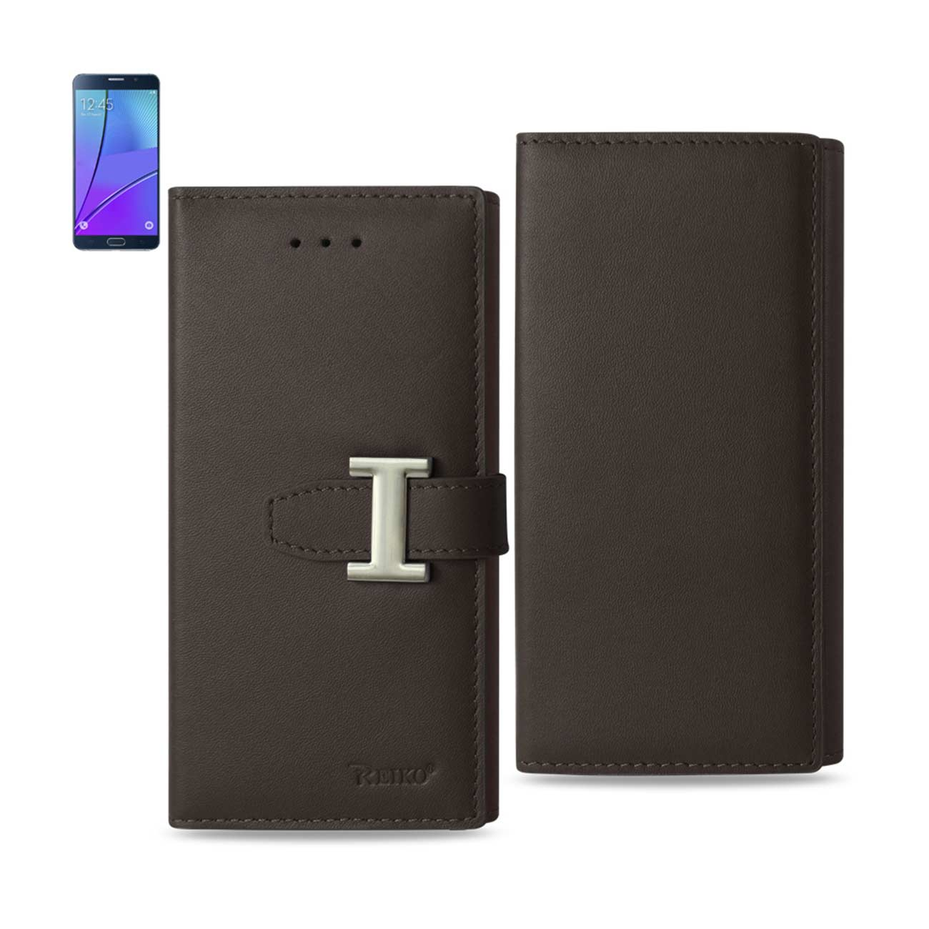 SAMSUNG GALAXY NOTE 5 PLUS GENUINE LEATHER RFID WALLET CASE IN UMBER