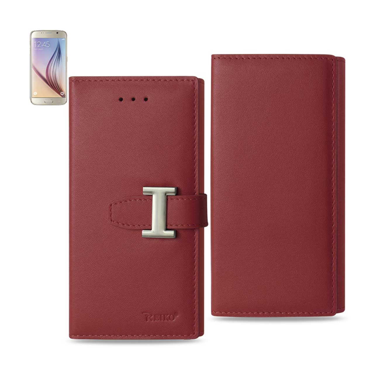 SAMSUNG GALAXY S6 PLUS GENUINE LEATHER RFID WALLET CASE IN BURGUNDY
