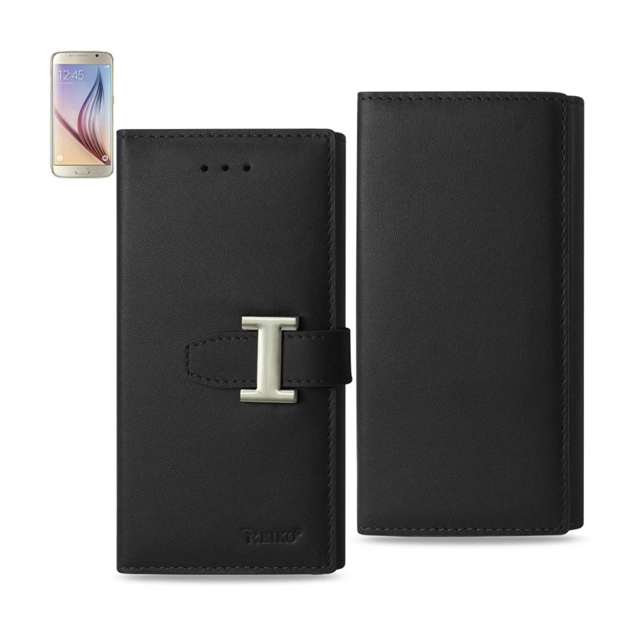 SAMSUNG GALAXY S6 PLUS GENUINE LEATHER RFID WALLET CASE IN BLACK