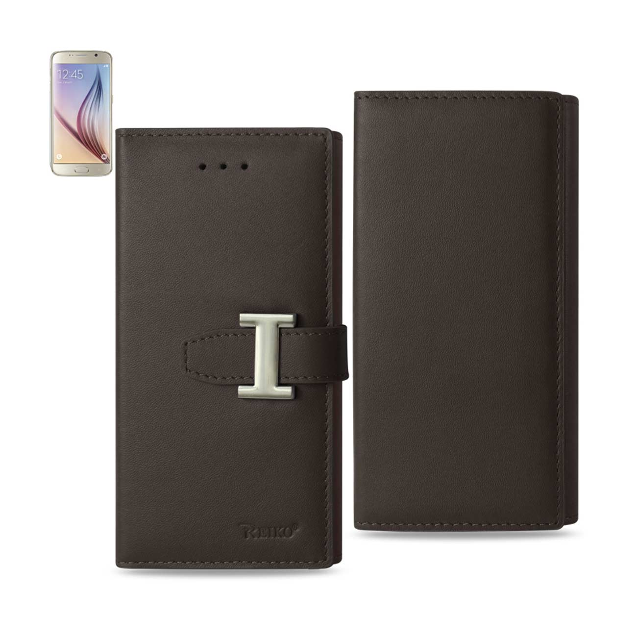 SAMSUNG GALAXY S6 PLUS GENUINE LEATHER RFID WALLET CASE IN UMBER