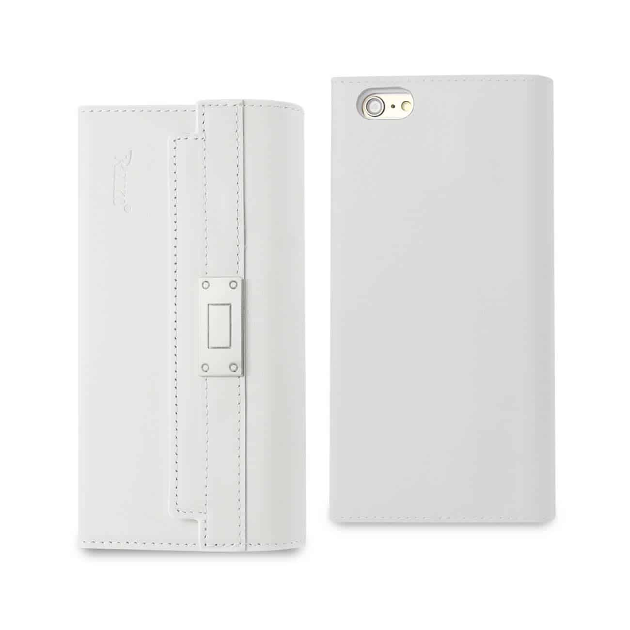 IPHONE 6S PLUS GENUINE LEATHER RFID WALLET CASE AND METAL BUCKLE BELT IN IVORY