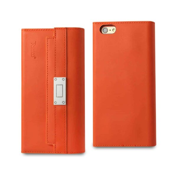 IPHONE 6S PLUS GENUINE LEATHER RFID WALLET CASE AND METAL BUCKLE BELT IN TANGERINE