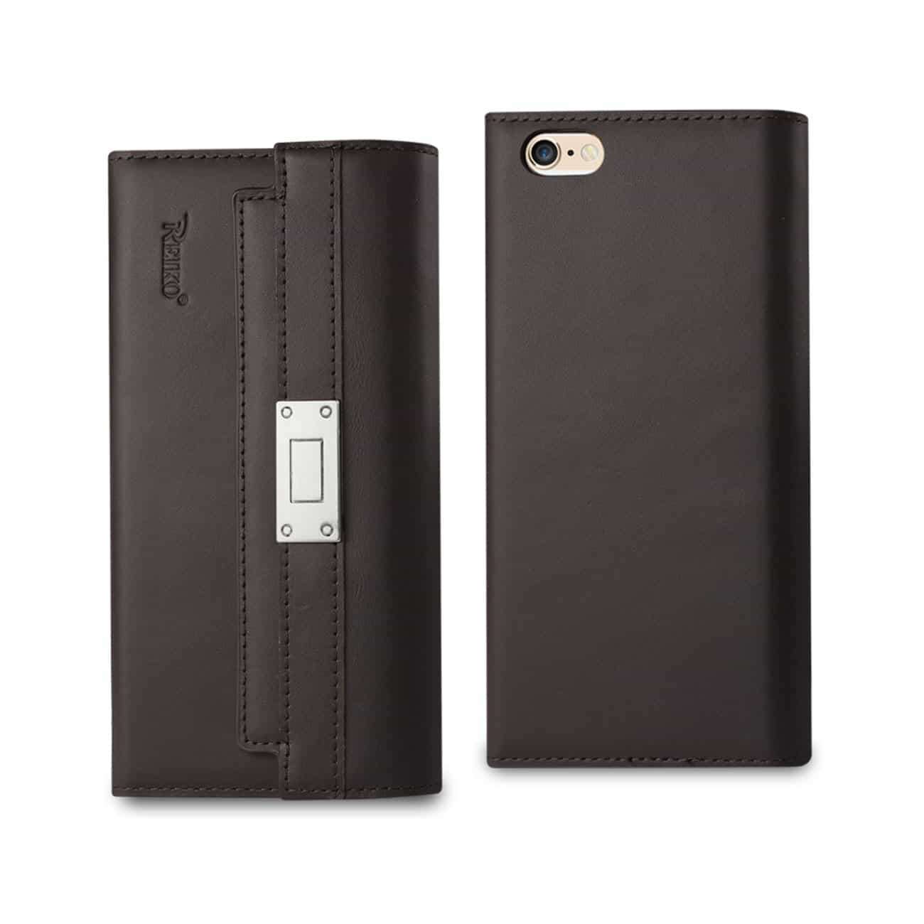 IPHONE 6S GENUINE LEATHER RFID WALLET CASE AND METAL BUCKLE BELT IN UMBER