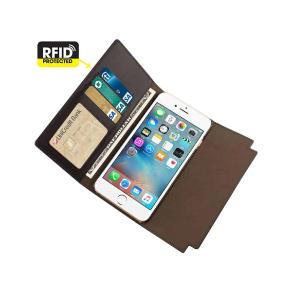 IPHONE 6S GENUINE LEATHER RFID WALLET CASE AND METAL BUCKLE BELT IN UMBER