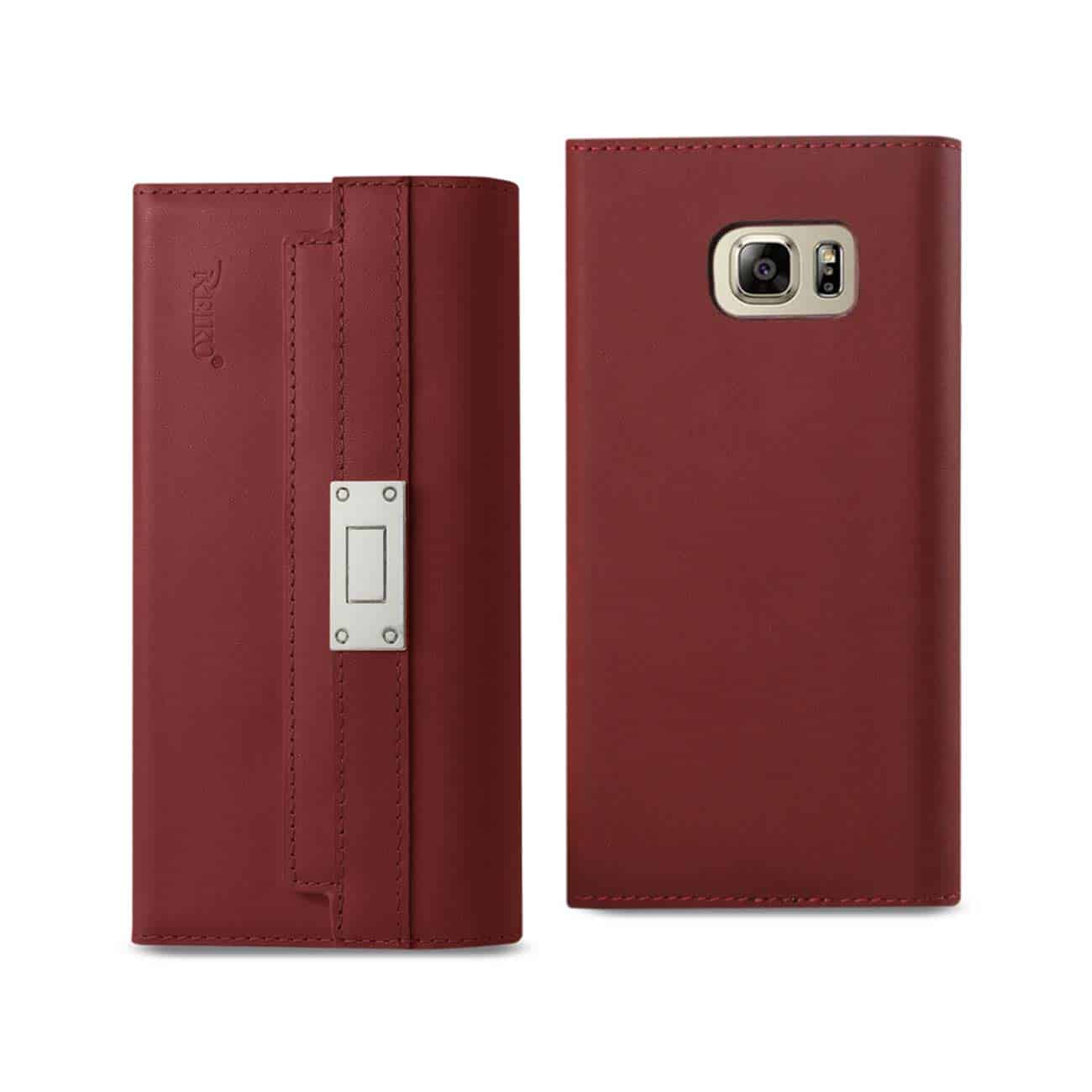 SAMSUNG GALAXY NOTE 5 GENUINE LEATHER RFID WALLET CASE AND METAL BUCKLE BELT IN BURGUNDY