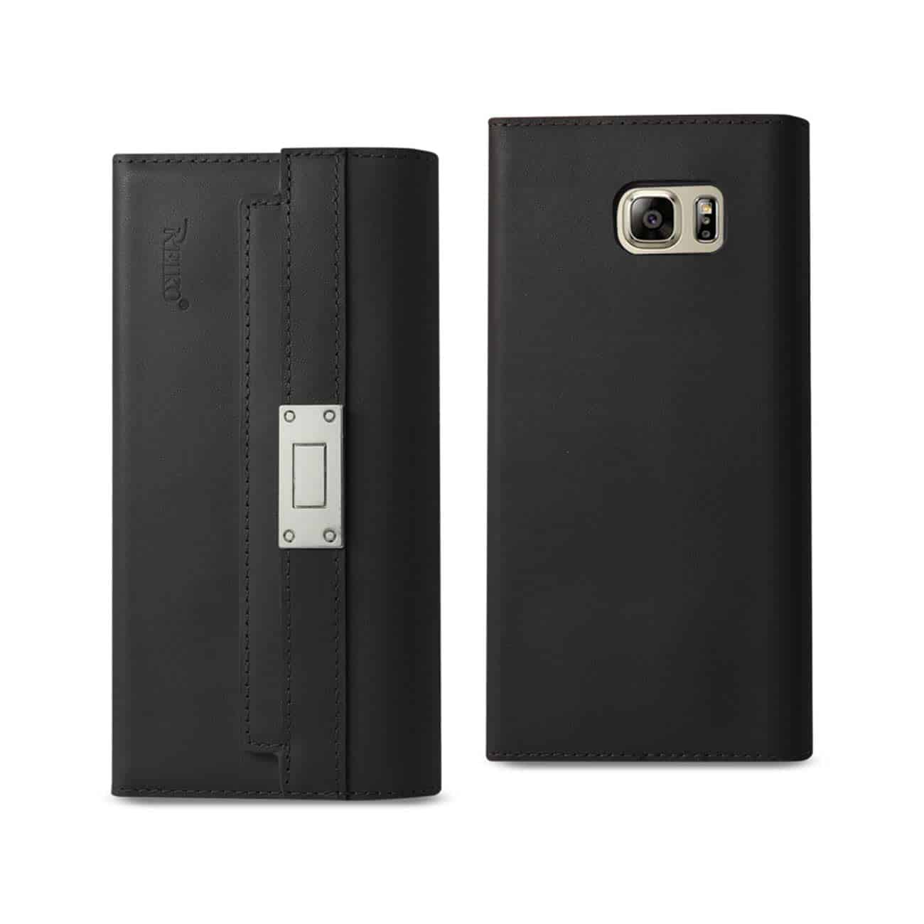 SAMSUNG GALAXY NOTE 5 GENUINE LEATHER RFID WALLET CASE AND METAL BUCKLE BELT IN BLACK