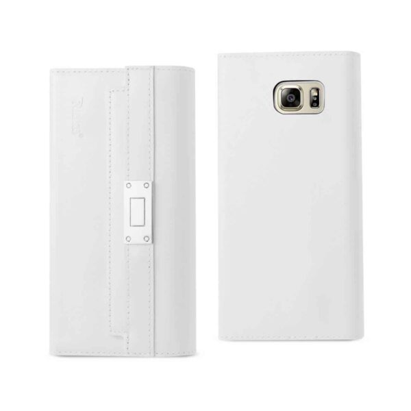 SAMSUNG GALAXY NOTE 5 GENUINE LEATHER RFID WALLET CASE AND METAL BUCKLE BELT IN IVORY